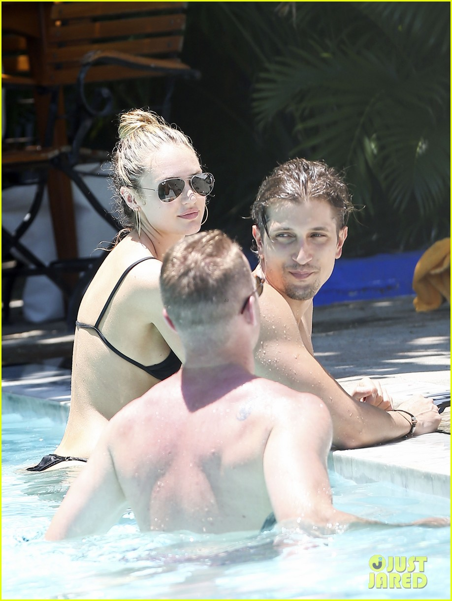 candice swanepoel poolside bikini babe  with hermann nicoli 10